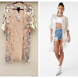 NWT Forever 21 Oversized Sequin Kimono Jacket